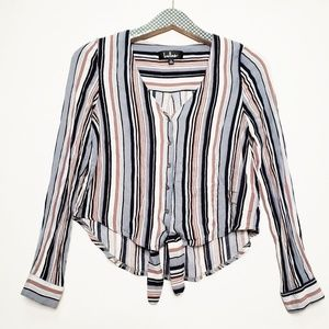 LuLu's Striped Tie Front Button up crop top